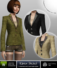 Sims 3 — Karen Jacket by b-bettina — Stylish designer jacket with eye catching lapels in 3 different styles; silver