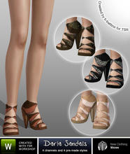 Sims 3 — Daria Sandals by b-bettina — A pack of fashionable designer cut-out sandals with high heels, 4 recolorable