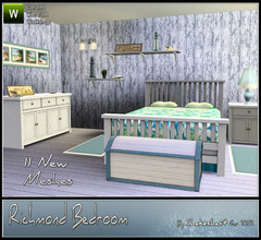 Sims 3 — Richmond Bedroom by Shakeshaft — The Richmond Bedroom set ideal for coastal living, set includes a Double Bed,