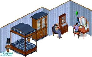 Sims 1 — Country Gentleman's Lovebed Set by STP Carly — Includes: Bed, Vanity, Wardrobe, Lamp, Endtable, Chair, Bookcase