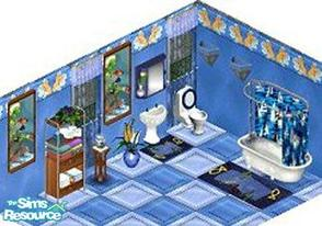 Sims 1 — Sail Away Bathroom by STP Carly — Includes: Wall, Floor, Sink, Wall Light, Wall aquarium(2), Tub, Tub and Shower