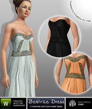 Sims 3 — Beatrice Dress by b-bettina — Exquisitely embellished floor-sweeping silk-chiffon gowns - a fairytale choice for