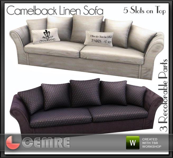 Cemre S Mojito Home Collection Camelback Linen Sofa
