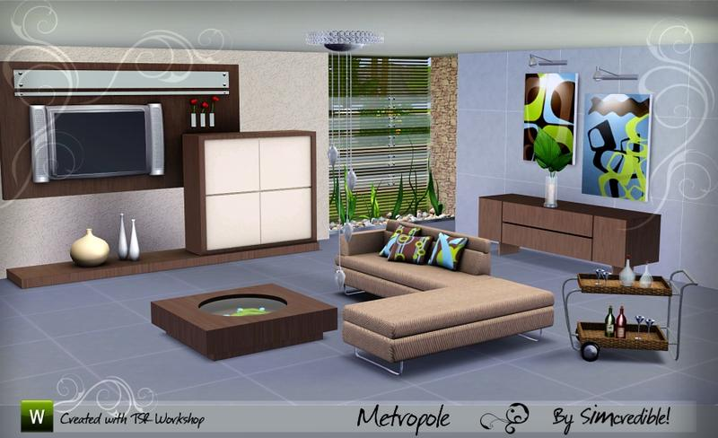 Simcredible 39 s metropole for Living room ideas sims 3