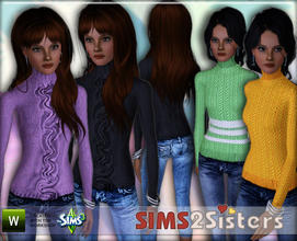 Sims 3 — S2S Pullower&Jeans by sims2sisters — Jeans capri with knit pullower for adult female by SimS2Sisters