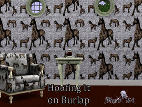 Sims 3 — HoofingItOnBurlap by stori_64 — Pattern filled with horses in front of a burlap material