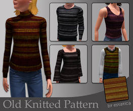 Sims 3 — estatica's Old Knitted Pattern by estatica — A nice, slightly mended knitting pattern for your poor sims.