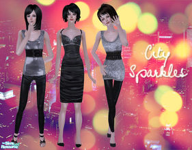 Sims 2 — City Sparkles by Pretale — This set includes: three female outfits with leather and sequin fabric, some of the
