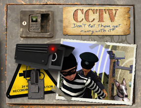 Sims 3 — CCTV Alarms and Signs by Cyclonesue — Fully working CCTV burglar alarms! Can be placed outdoors without building