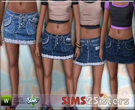 Sims 3 — S2S Jeans Skirt by sims2sisters — Jeans Skirt for teen by Sims2Sisters