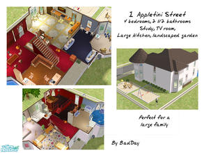 Sims 2 — 1 Appletini Street by BadDay — A large mock-Victorian home perfect for a large or growing family. This wonderful