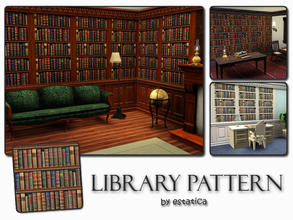Sims 3 — Library Pattern by estatica — If your sims can't afford a bookshelf, they can find comfort in this library