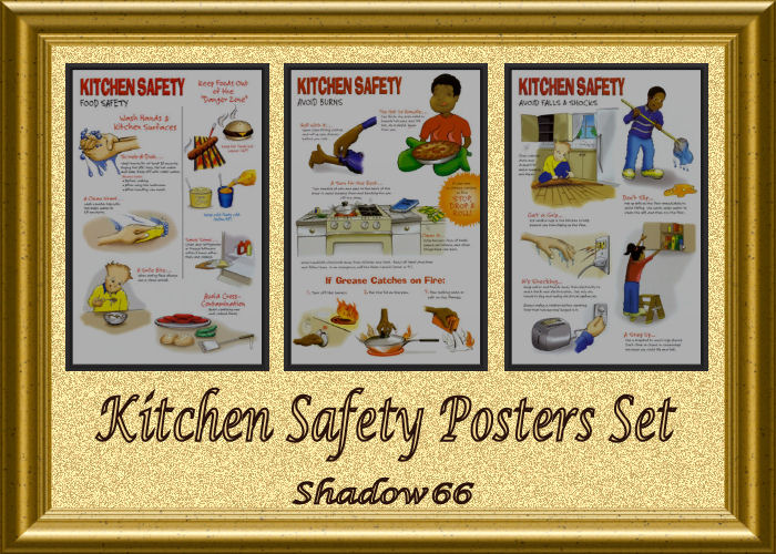 Shadow66 39 s s66 kitchen safety posters set for 3 kitchen safety rules