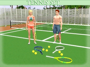 Sims 3 — Tennis Set by lilliebou — Hi :) This tennis set includes two fences, one tennis balls and three rackets. The