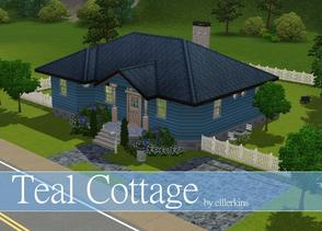 Sims 3 — Teal Cottage by ellerkins — Teal Cottage has three bedrooms, spacious living room, kitchen, back deck, and two