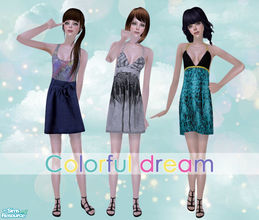 Sims 2 — Colorful Dream by Pretale — Three dresses for teens, categorized in everyday. They are base game compatible so,