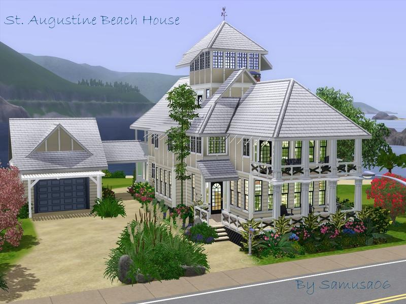 Samusa06 39 s st augustine beach house v5 for Beach house plans sims 3