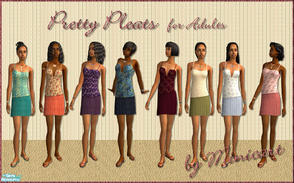 Sims 2 — Pretty Pleats by minicart — A set of eight pretty pleated skirts with matching tops in turquoise, peach, purple,