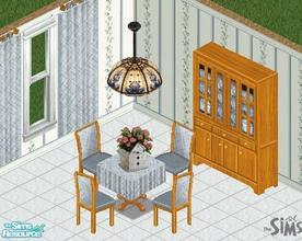 Sims 1 — Country Oak Dinette Set by CactusWren — Includes: Table, Chair, Cabinet, Chandelier, Curtain, Decoration