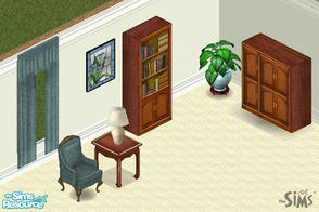 Sims 1 — Teal Traditions Set by CactusWren — Includes: Chair, Drapes, Cabinet, Bookcase, Endtable, Mirror, Lamp