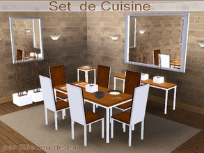 Sims 3 — Set de Cuisine by lilliebou — Hi! :) This is a set of 12 items for your dining room: -One dining table -One