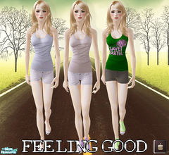Sims 2 — Feeling Good set - FA by haiduong — A simple with no mesh required and works with basic game, comes in 3 styles.