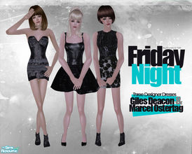 Sims 2 — Friday Night by Pretale — This set including three designer dresses for adult female. They are in the formal