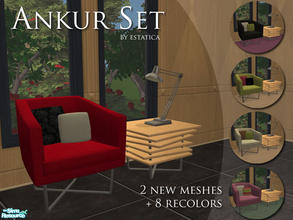 Sims 2 — Ankur Set by estatica — A small set with 2 new meshes and 8 recolours (4 chairs and 4 pillow textures to mix and