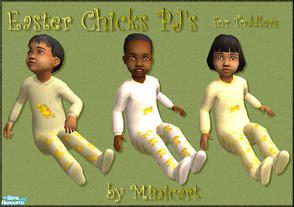 Sims 2 — Easter Chicks PJ\'s for Toddlers by minicart — A set of three Easter pyjama\'s for your toddler in green, yellow
