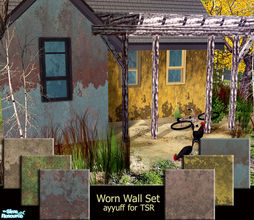 Sims 2 — Worn Wall Set by ayyuff — Cost:2