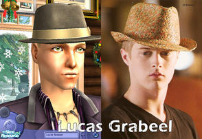 Sims 2 — Lucas Grabeel by FrozenStarRo — Star of High School Musical. You\'ll need Apartment Life for the hairstyle/hat