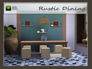 Sims 3 — Rustic Dining by Angela — Rustic Dining. Set contains a table, seat, ceilinglamp, wallshelf in 2 heights,