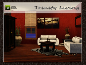 Sims 3 — Trinity Living by Angela — Trinity Living. Set contains: Armoire, loveseat, table, 1 tile blind inspired from