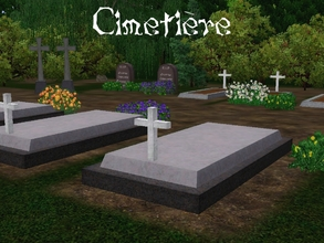 Sims 3 —  by lilliebou — Set of four recolorable graves for a cemetery. They can be found in Misc. Decor from 120