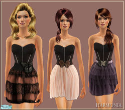 Sims 2 — Halloween Party Set 04 by Harmonia — Corset Top ~ 3 different belted tulle skirt 3 Color Variations