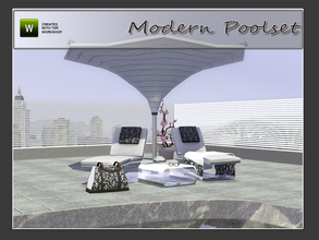 Sims 3 — Modern Poolset by Angela — Modern Poolset. Set contains: Lounger, Modern Parasol based of a real life one,