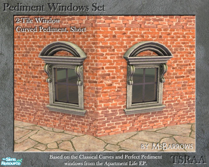Pediment Set 2 Tile Window Curve Short D