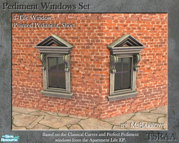 Pediment Set 1 Tile Window Straight Short D