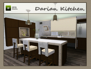 Sims 3 — Darian Kitchen by Angela — Darian Kitchen, contemporary style kitchen. Set contains: 2 counters, Island, Blind