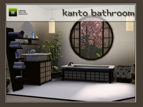 Sims 3 — Kanto Bathroom by Angela — 6 new meshes, all in an asian tinted style. Made by Angela@TSR (2010) Set contains: