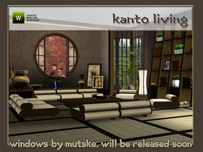 Sims 3 — Kanto Living by Angela — Kanto living, with lowered seating. Set contains: Sofa, Loveseat and Chair, please