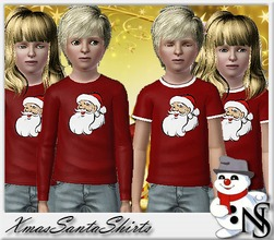 Sims 3 — Nea-XmasSanta by Nea-005 — xmas shirts with short and long sleavs for boys and girls