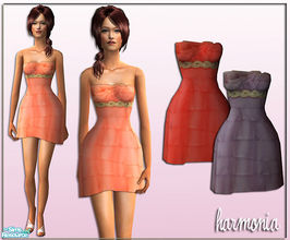 Sims 2 — Marchesa Tiered Dress by Harmonia — 3 soft pastel colors