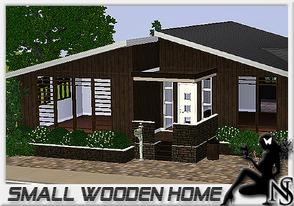 Sims 3 — Small Wooden home by Nea-005 — Made by NeaSims; 2 bedrooms, bathroom, dinningroom, kitchen, livingroom;