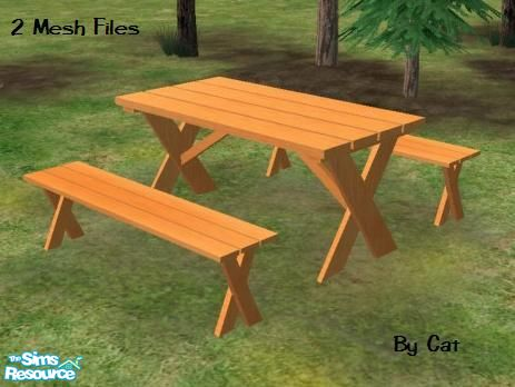 Catcms Picnic Table And Bench - Mesh picnic table