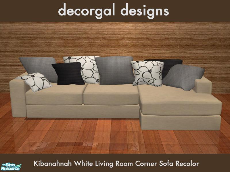 Decorgal21539s kibanahnah39s corner sofa in cream for Sims 3 sectional sofa download
