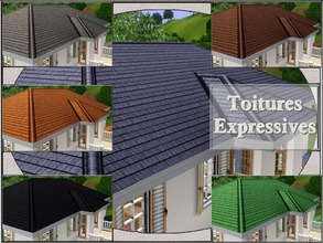 Sims 3 — Toitures Expressives by lilliebou — Hi ! This is a set of six roof recolors.