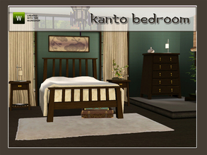 Sims 3 — Kanto Bedroom by Angela — Kanto Bedroom. Set contains: Doublebed, Dresser, Endtable, Curtain left and right,