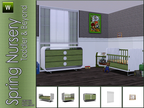Sims 3 — Spring Nursery by Angela — Small Kidsroom in white/ green and orange tones. Set contains: Juniorbed, Crib,