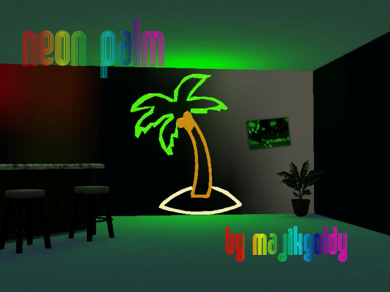 Majikgoldys Neon Lights Palm Tree Wall Decor